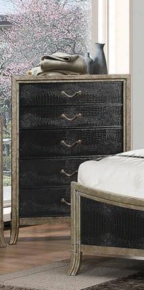 "San Juan 1005-70 50"" Tall Fiver Drawer Chest With Decorative Hardware Molding Detail Apron And Tapered Legs In Ebony And"