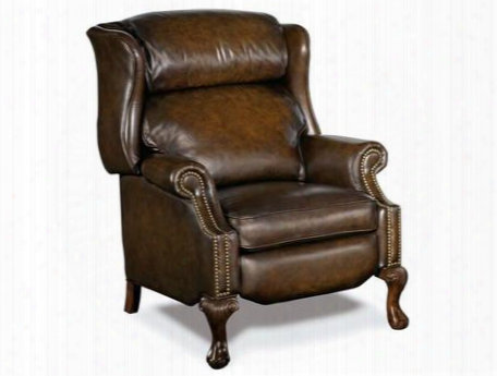 """Sedona Series Rc215-203 44"""" Traditional-style Living Room Vortex Gs Recliner Chair With Cabriole Legs Split Back Cushion And Leather Upholstery In"""