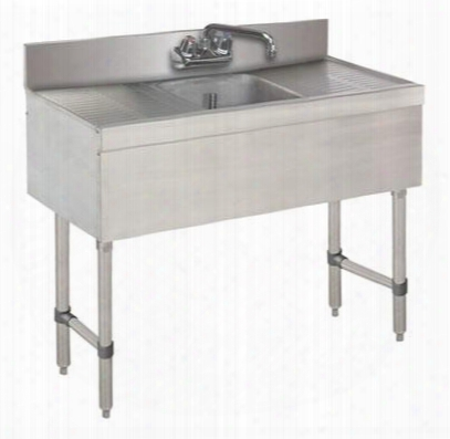 "Slb-31c-x 18"" Lite Series One-compartment Underbar Sink With 4"" Backsplash Drainboards And 6"" Splash Mounted Faucet In Stainless"