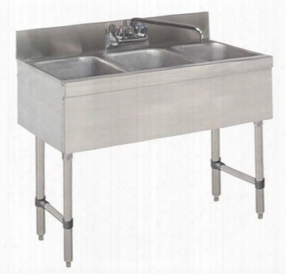 "Slb-33c-x 18"" Lite Series Three-compartment Underbar Sink With 4"" Backsplash And 10"" Splash Mounted Faucet In Stainless"