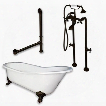 "St61-398463-pkg-orb-nh Cast Iron Slipper Clawfoot Tub 61"" X 30"" With No Faucet Drillings And Completef Ree Standing British Telephone Faucet And Hand Held"