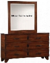 "Yorkshire 204853 61"" Dresser with 6 Drawers Charging Access Dark Bronze Handles Asian Hardwood Poplar Wood and Veneer Materials in Dark Amber and Coffee"