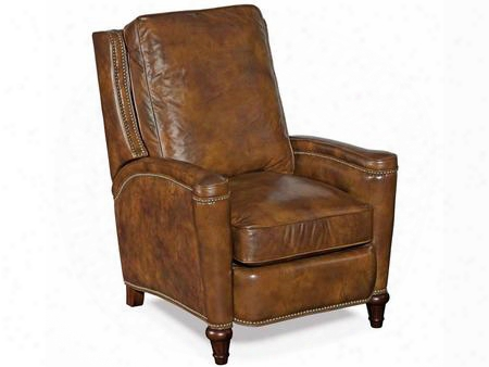 "Twin Oaks Series Rc216-222 40"" Traditional-style Living Room Plantation Gs Recliner Chair With Nail Head Accents Turned Legs And Leather Upholstery In"