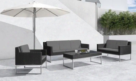 Vgmgcabo Renava Cabo Outdoor 4 Pc Sofa Set With Sofa Loveseat Chair Glass Top Coffee Table Stainless Steel Frame Grey Cushions Upholstery And Weatherproof