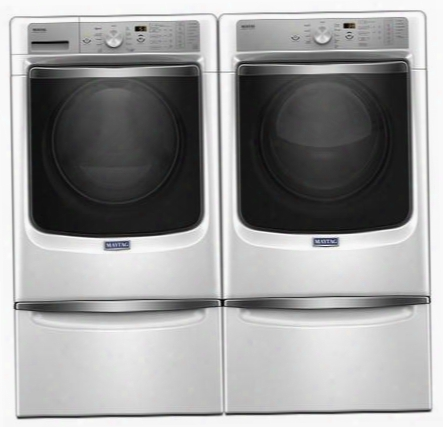 """White Front Load Laundry Pair With Mhw8200fw 27"""" Washer Mgd8200fw 27"""" Gas Dryer And 2 Xhpc155xw"""