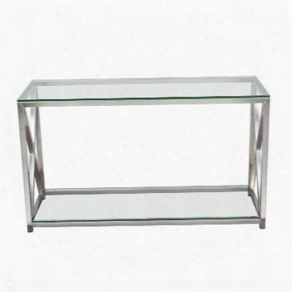 "X-factor Xfactorcs 47"" Console Table With Clear Glass Top & Shelf And Brushed Stainless Steel"