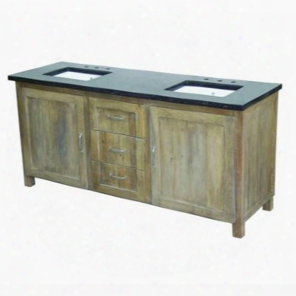 """Yvaa72dvnat3 72"""" Double Vanity With Black Granite Top 2 White Undermount Ceramic Basins 2 Cabinets And 3 Drawers In New Natural 3 Cabinet"""