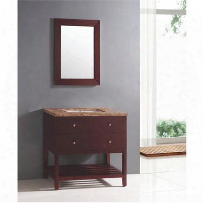 """Yvec-049 31.5"""" Wooden-framed Mirror And 36"""" Freestanding Wood Vanity Set With Brown Marble Countertop Single White Ceramic Undermount Sink And 2 Full-sized"""