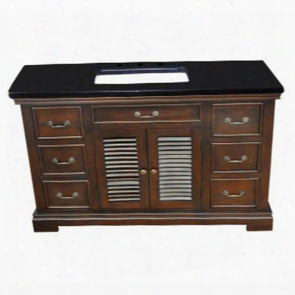 "Yvgd60svwal 60"" Single Vanity With Black Granite Top White Undermount Ceramic Basin 1 Cabinet And 6 Side Drawers In Walnut Cabinet"