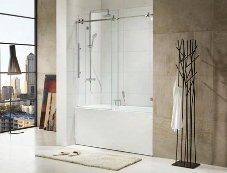 0asbs03 Trident - Premium 3/8 In. (10mm) Thick Clear Tempered Glass 59 1/2 In. W X 62 In. H Frameless Sliding Shower Door In
