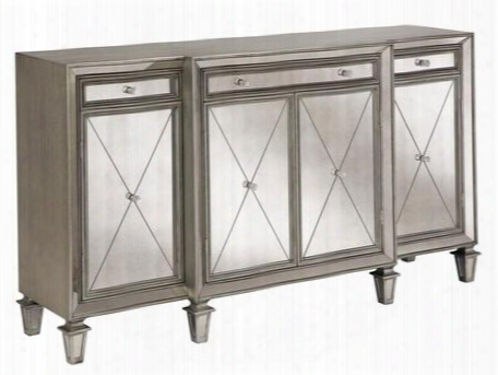 "13279 Erica 68.75"" Sideboard With 4 Doors 3 Drawers 3 Adjustable Shelves X Pattern Etched Fronts And Recessed Antique Mirrors In Silver"