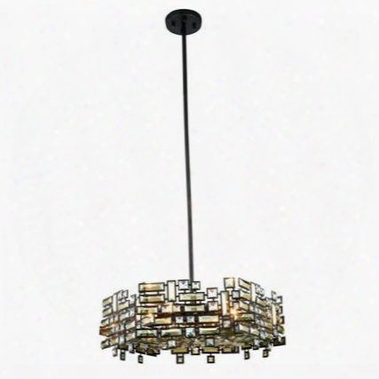 2101d24db/rc Picasso Collection Pendant Lamp D:24 H:8 Lt:6 Dark Bronze Finish Royal Cut Golden