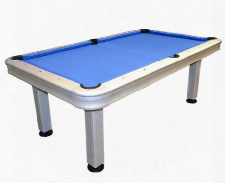 29-730 7' Outdoor Pool Table With Aluminum Frame Waterproof Cloth Bed And K66 Cushion Rubber In Silver And