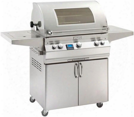 "A660s6e1p62w Aurora 63"" Cart With Liquid Propane 30"" Grill E-burners Side Shelf Side Burner Backburner Magic View Window Digital Thermometer And Up To"