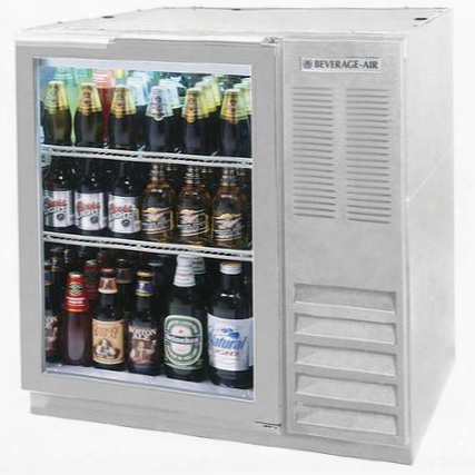 "Bb36gf-1-s-27 36"" One Glass Door Food Rated Back Bar Refrigerator 8.8 Cu. Ft. Capacity With Stainless Steel Exterior Finish Side Mounted Compressor And 2"