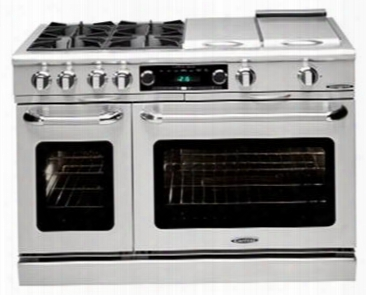 Capital Connoisseurian Series Cob484b2ssn 48 Inch Pro-style Dual Fuel Range With 6 25 00 Btu Open Burners 5.4 Cu. Ft. Main Oven Center Bbq Burner Dual