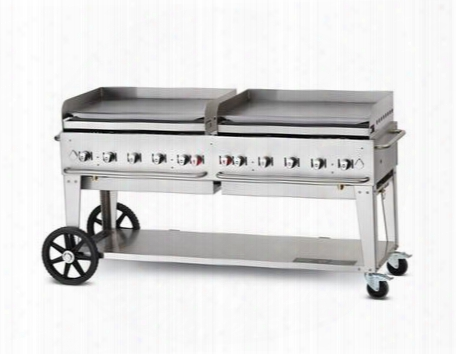 "Cv-mg-72 72"" Liquid Propane Mobile Griddle With 159000 Btu Capacity Removable Stainless Steel Grease Tray Two 14"" Wheels And Two Total Casters In Stainless"