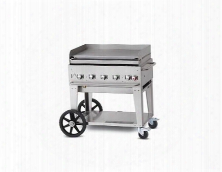 """Cvmg36 36"""" Liquid Propane Mobile Grill With 79500 Btu Capacity Removable Stainless Steel Grease Tray With Two 14"""" Wheels And Two Total Lock Casters In"""