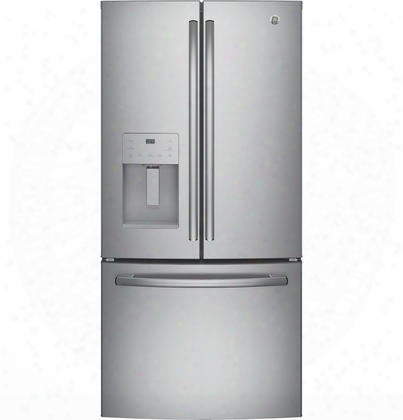 "Gfe24jskss 33"" Energy Star Qualified French-door Refrigerator With 23.8 Cu. Ft. Capacity External Ice And Water Dispenser 2 Humidity-controlled Drawers"
