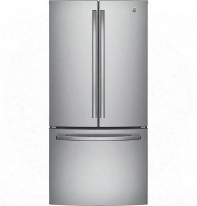 "Gne25jskss 33"" Energy Star Qualified French-door Refrigerator With 24.8 Cu. Ft. Capacity Internal Water Dispenser Upfront Temperature Controls Turbo Cool"
