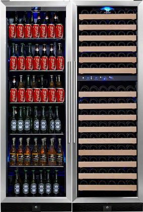 "Kbu-170combo-bw3 48"" 3 Temperature Zones Wine Cooler And Beverage Center With 131 Bottle And 450 Can Capacity Warp Resistant Wood And Chromed Shelves: Glass"