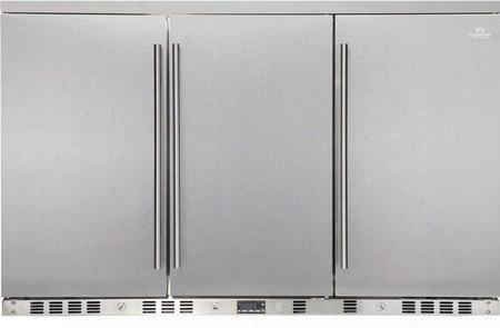 """Kbu-328a-sd 53"""" 3 Solid Door Undercounter Beverage Cooler With X Can Capacity Chrome Shelves Lock And Stainless Steel Interior And"""