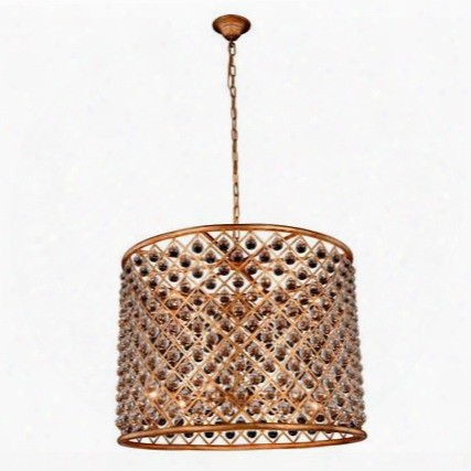"""Madison 1204d35girc 35"""" Pendant Lamp With 12 E12 Light Bulbs And Royal Cut Clear Crystal Trim In Golden Iron"""