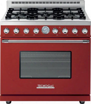 "Rd361gcrc 36"" Deco Series Gas Range With 6.7 Cu. Ft. Overall Capacity Volume 6 Gas Burners Gas Convection Oven And 4 Oven Convection Fans: Red With Chrome"