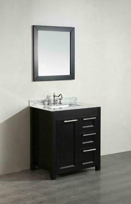 "Sb-267-1bcm 30"" Single Vanity In Black With White Carrara Marble"