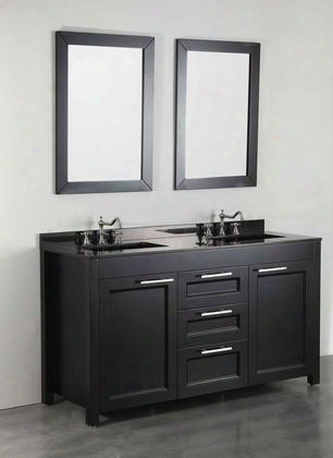 "Sb-267bbg 60"" Double Vanity In Black With Black Granite"
