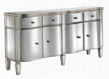 "Tatum 13280 64"" Sideboard With Beveled Mirror Facings Tpaered Legs And Hand Painted In Silver"