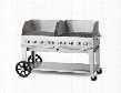 "CVMCB60RDPNGWGP 60"" Natural Gas Mobile Grill up to 129 000 BTUs with Windguard Package in Stainless Steel Two 14"" Wheels and Two Lock Casters for"