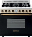 "RD361GCNCB 36"" DECO Series Gas Range With 6.7 Cu. Ft. Overall Cavity Volume 6 Gas Burners Gas Convection Oven And 4 Oven Convection Fans: Black And Cream"