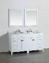 "SB-2LR2104WH 61"" Double Vanity in White with White Carrara Marble"