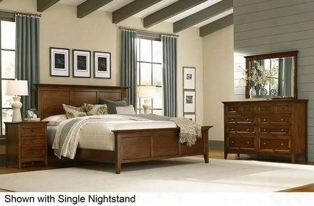 Westlake Wslcb5035 5-piece Bedroom Set With Queen Panel Bed Dresser Mirror And 2 Nightstands In Cherry Brown