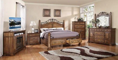 Zbcl700k6pc Barclay 6 Pc Bedroom Set With Bed + Dresser + Mirror + Chest + Nightstand + Fireplace Media Center In Rustic