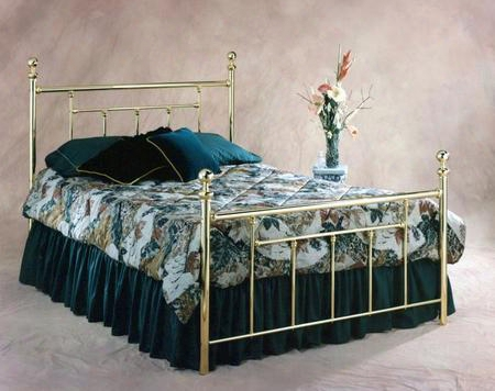1037bkr2 Chelsea King Size Poster Bed Set With Round Finials Rails Included And Metal Construction In Classic Brass
