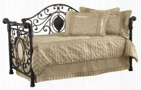 1039dblh Mercer Daybed With Susepnsion Deck Sleigh Design Large Medallion Centeerd Scrollwork And Tubular Steel Construction In Antique Brown