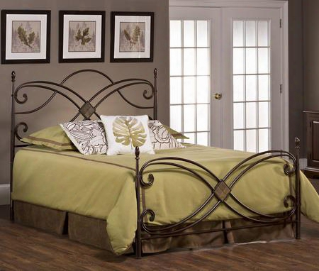1163bkr Barcelona King Size Poster Bed Set With Rails Included Diamond Slate Motif Oblong Finials And Tubular Steel Construction In Antique Copper