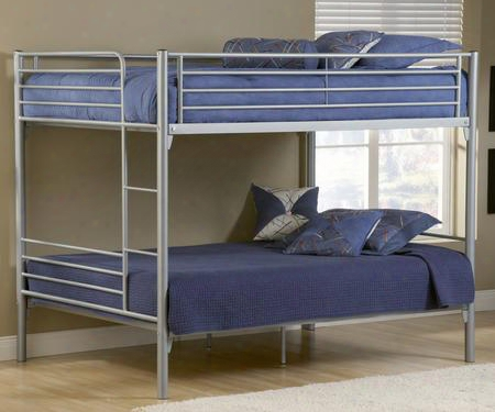 1178fbb Brayden Youth Full/full Bunk Bed With Ladder And Heavy Gauge Tubular Steel Frame In Silver