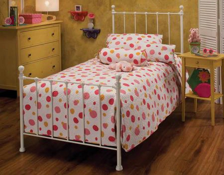 1222btwhtr Molly Twin Bed With Rails Trundle Metal And Small Ball Finials In