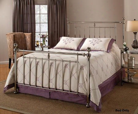 1251bkr Holland King Size Poster Bed Set With Rails Included Cannonball Finials And Tubular Steel Construction In Shiny Nickel