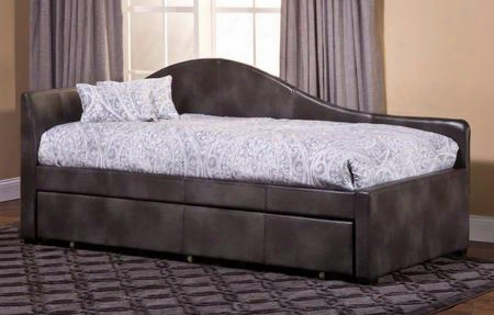 1274dbt Winterberry Daybed With Trundle Included Pine Wood Construction Block Feet And Faux Leather Upholstery In Weathered Grey