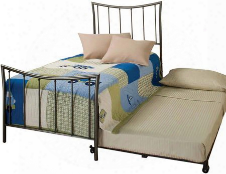 1333btwhtr Edgewood Twin Size Panel Bed Set With Suspension Deck Roll-out Trundle And Tubular Steel Construction In Magnesium