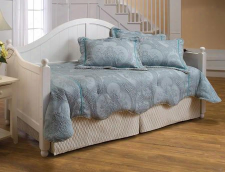 1434dblh Augusta Daybed With Suspension Deck Beadboard Design Gracefully Arched Silhouette And Sloped Arm In White