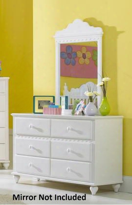 "1528-717w Lauren 54"" Wide Dresser With 6 Drawers Mdf Construction Scalloped Design And Wooden Hardware In White"
