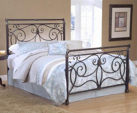 1643bkr Brady King Size Sleigh Bed Set With Rails Included Free-flowing Scrollwork And Tubular Steel Construction In Antique Bronze