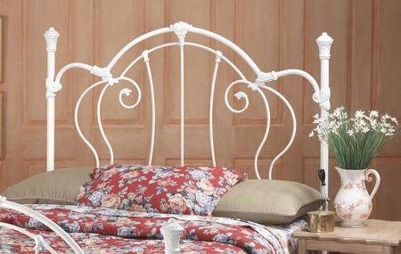 381hkr Cherie King Size Open-frame Headboard With Rails Included Victorian-style Design Scrollwork And Metal Construction In Ivory
