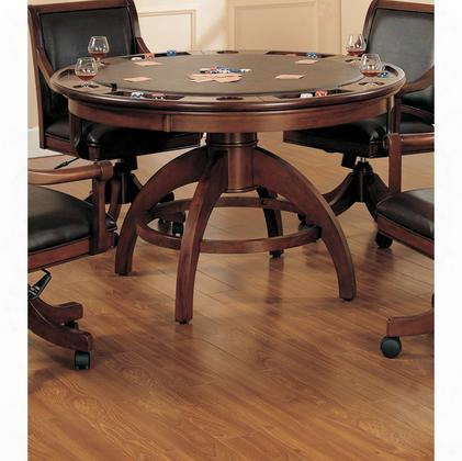 "4185gtb Palm Springs 57"" Game Table With Leather Top Cup Holder Molding Detail And Stretchers In Medium Brown"