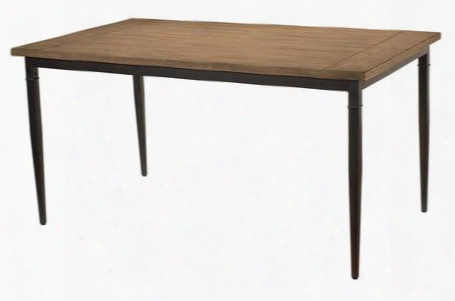 "4670dtbr Charleston 60"" Rectangular Dining Table With Dark Grey Metal Construction And Rubber Wood Top In Desert Tan"